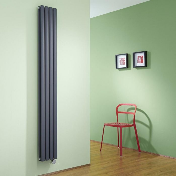 Milano Aruba Slim Electric - Anthracite Vertical Space-Saving Designer Radiator - 1780mm x 236mm (Double Panel)