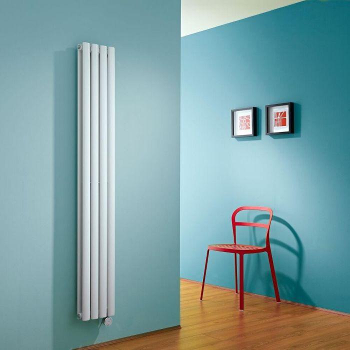 Milano Aruba Slim Electric - White Vertical Space-Saving Designer Radiator - 1600mm x 236mm (Double Panel)