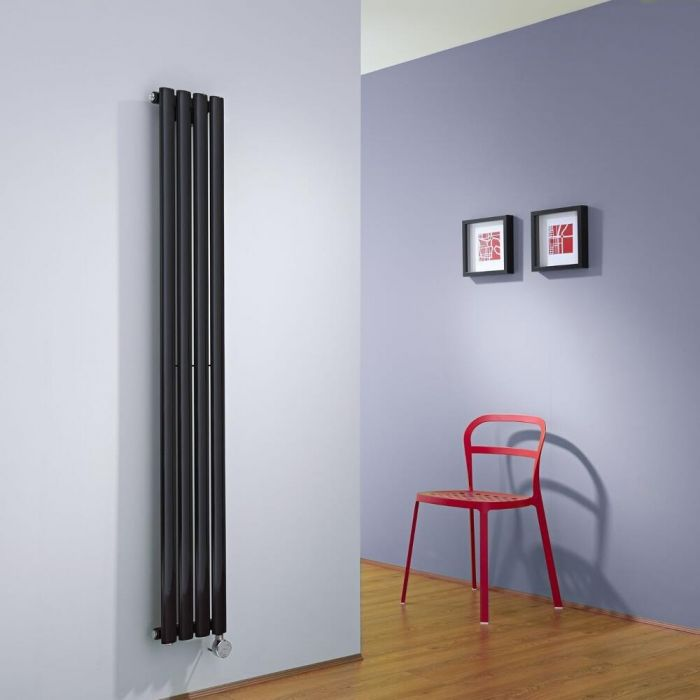 Milano Aruba Slim Electric - Black Vertical Space-Saving Designer Radiator - 1600mm x 236mm
