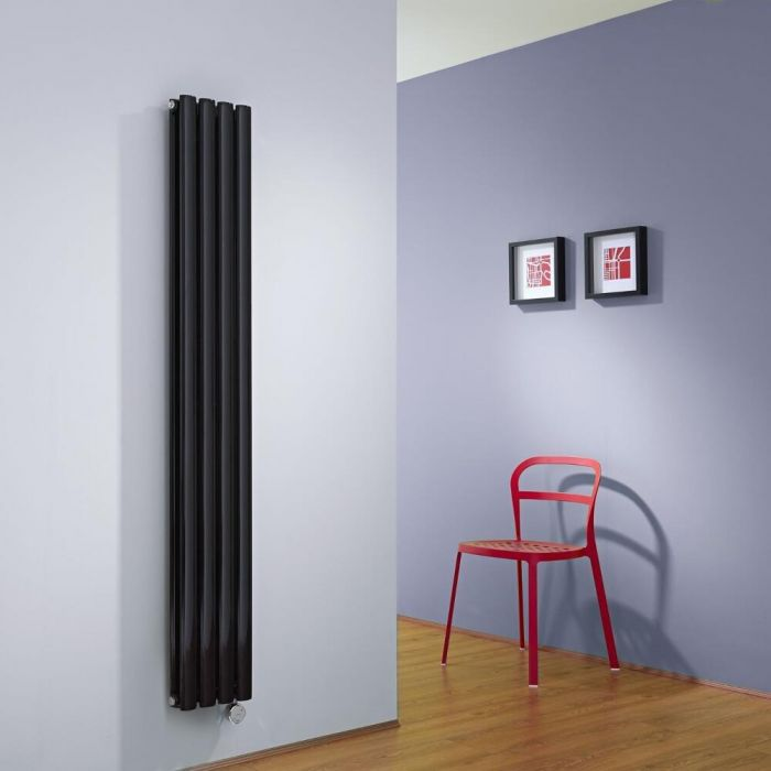 Milano Aruba Slim Electric - Black Vertical Space-Saving Designer Radiator - 1600mm x 236mm (Double Panel)