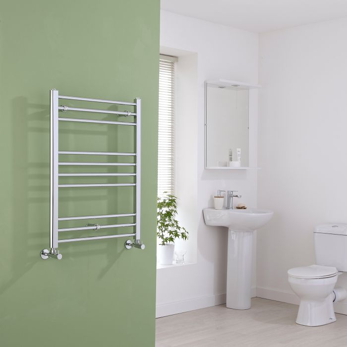 Milano Eco - Flat Chrome Heated Towel Rail 800mm x 600mm