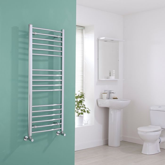 Milano Eco - Curved Chrome Heated Towel Rail - 1200mm x 500mm