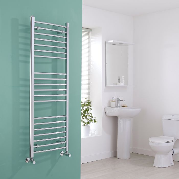 Milano Eco - Chrome Curved Heated Towel Rail - 1400mm x 500mm