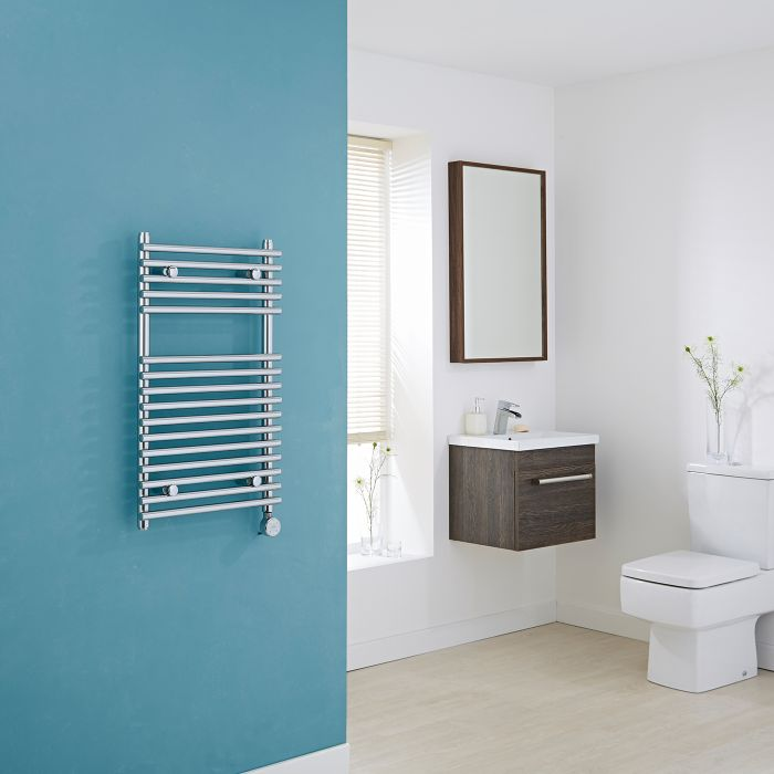 Kudox Electric - Flat Chrome Bar on Bar Heated Towel Rail 750mm x 450mm
