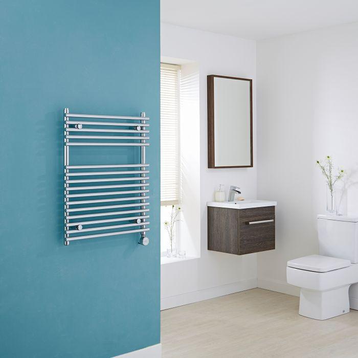 Kudox Electric - Chrome Flat Bar on Bar Heated Towel Rail - 750mm x 600mm