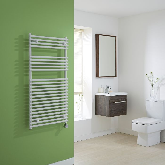 Kudox Electric - White Flat Bar on Bar Heated Towel Rail - 1150mm x 600mm