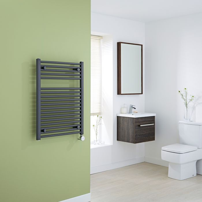 Milano Brook Electric - Anthracite Flat Heated Towel Rail - 800mm x 600mm