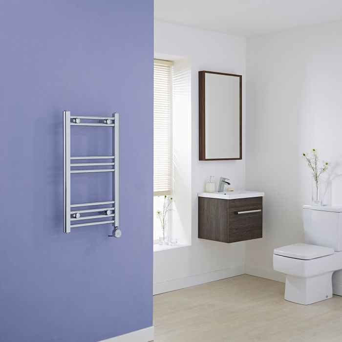 Milano Ribble Electric - Flat Chrome Heated Towel Rail - 700mm x 400mm