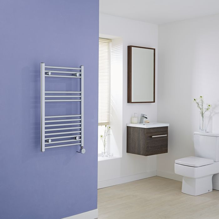 Milano Ribble Electric - Flat Chrome Heated Towel Rail 800mm x 500mm