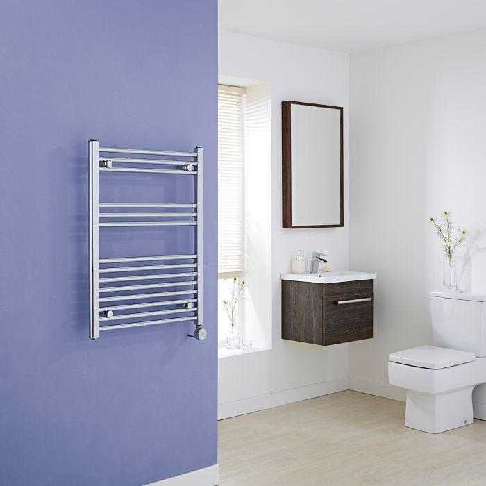 Milano Ribble Electric - Flat Chrome Heated Towel Rail 800mm x 600mm