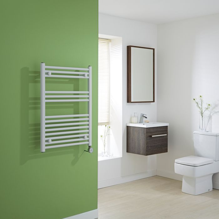 Milano Calder Electric - White Flat Heated Towel Rail - 800mm x 600mm