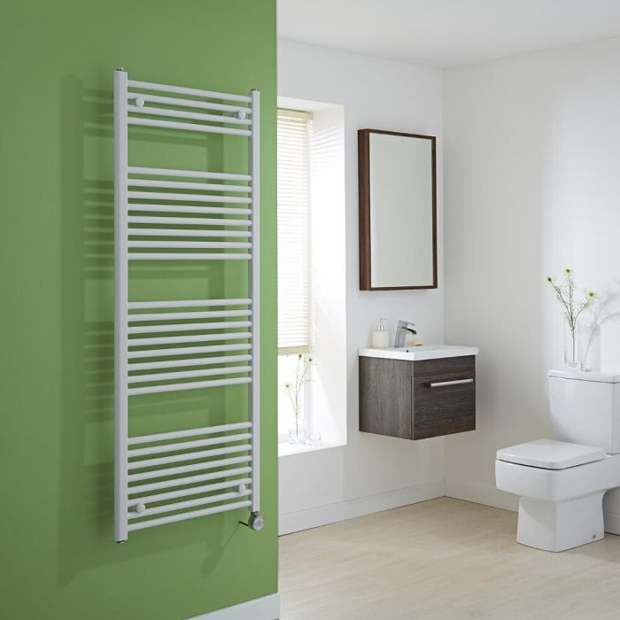 Milano Calder Electric - Flat White Heated Towel Rail 1500mm x 600mm