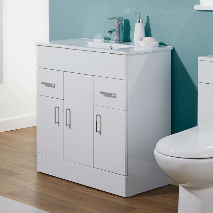 Milano Ren - White 805mm Minimalist Floor Standing Vanity Unit with Basin