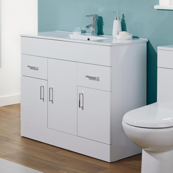 Milano Minimalist 1000mm White Gloss Bathroom Vanity Unit