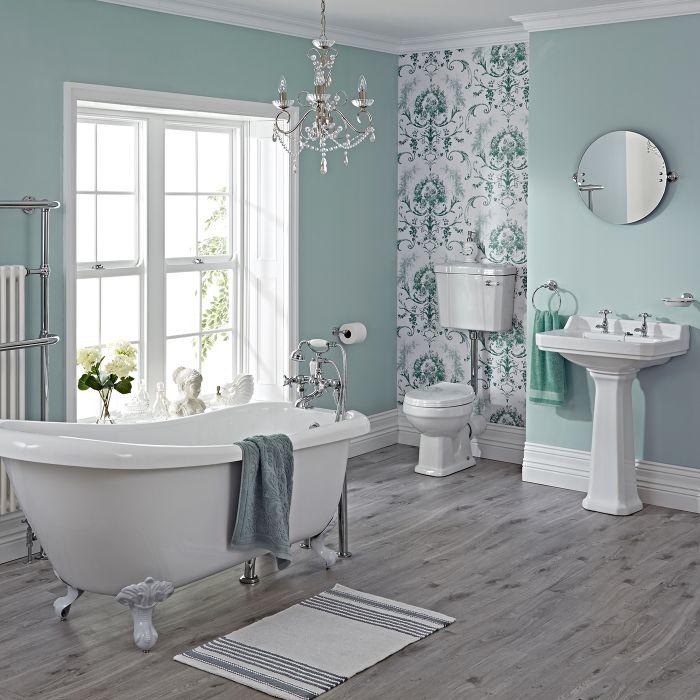 Milano Carlton Freestanding Slipper Bath Suite, Low Level WC inc Brassware