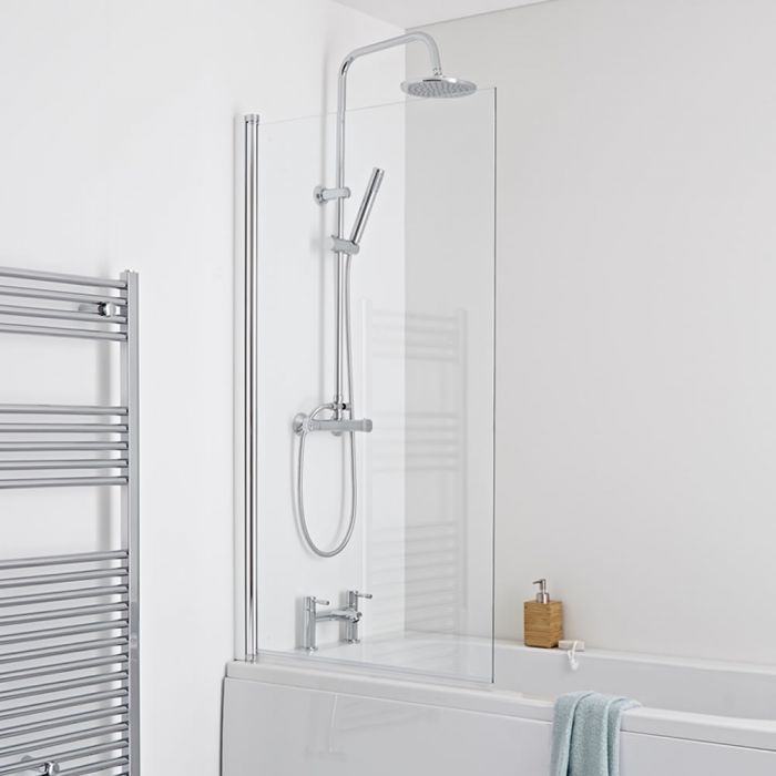 Milano Portland - Square Bath Shower Screen - Easy Clean Glass