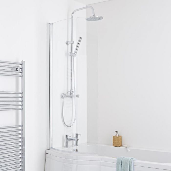 Milano Portland - Curved Shower Bath Screen - Easy Clean Glass