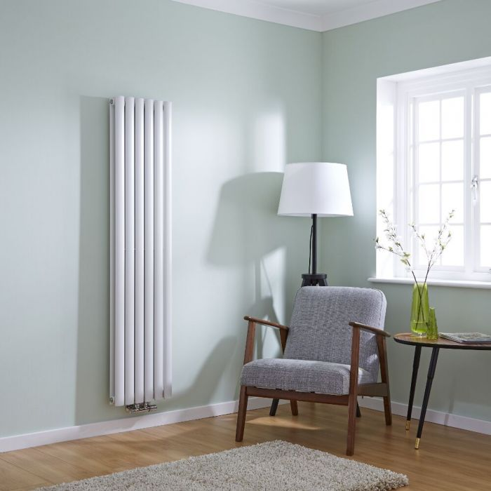 Milano Aruba Flow - White Vertical Panel Middle Connection Designer Radiator 1600mm x 354mm (Double Panel)