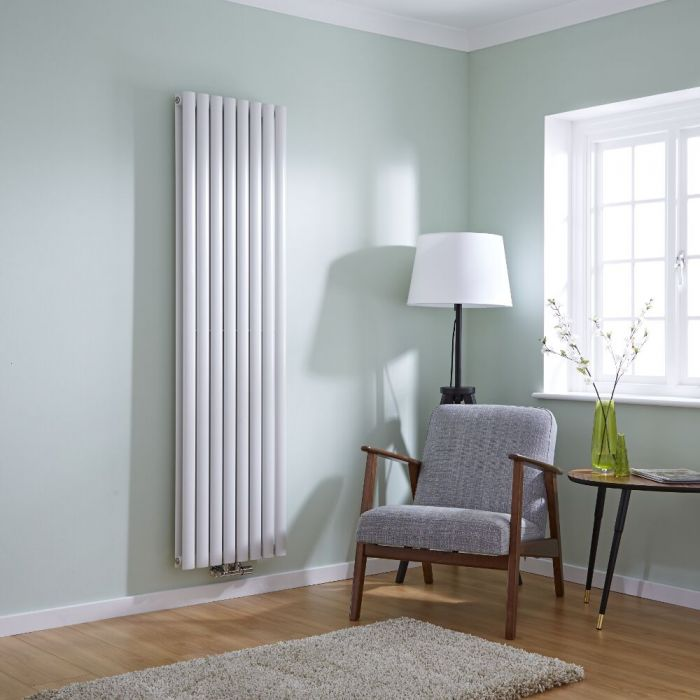 Milano Aruba Flow - White Vertical Panel Middle Connection Designer Radiator 1780mm x 472mm (Double Panel)