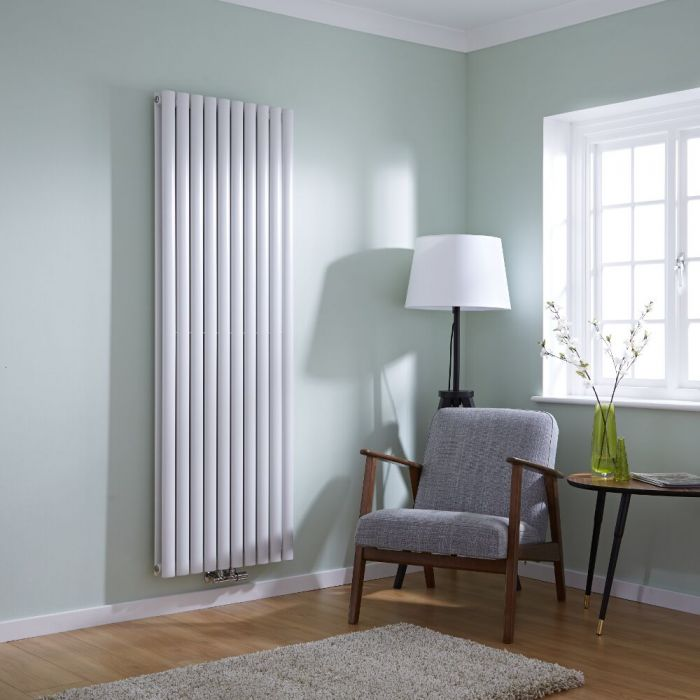 Milano Aruba Flow - White Vertical Panel Middle Connection Designer Radiator 1780mm x 590mm (Double Panel)