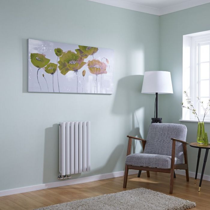 Milano Aruba Flow - White Horizontal Panel Middle Connection Designer Radiator 635mm x 415mm (Double Panel)