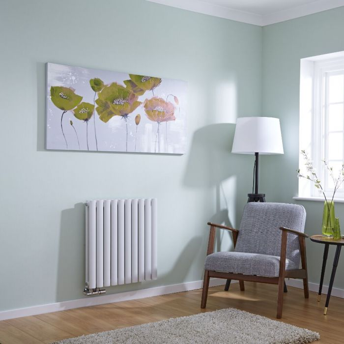 Milano Aruba Flow - White Horizontal Panel Middle Connection Designer Radiator 635mm x 595mm (Double Panel)