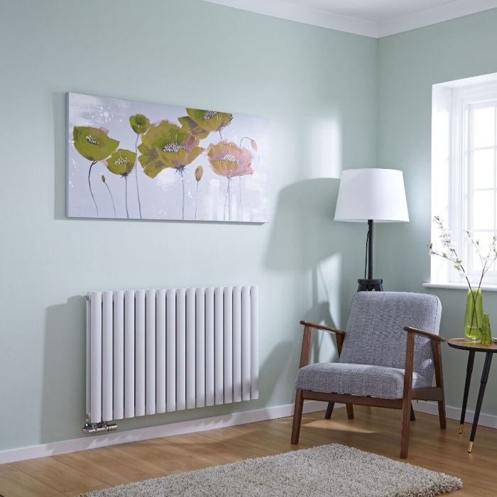 Milano Aruba Flow - White Horizontal Double Panel Middle Connection Designer Radiator 635 x 1000mm