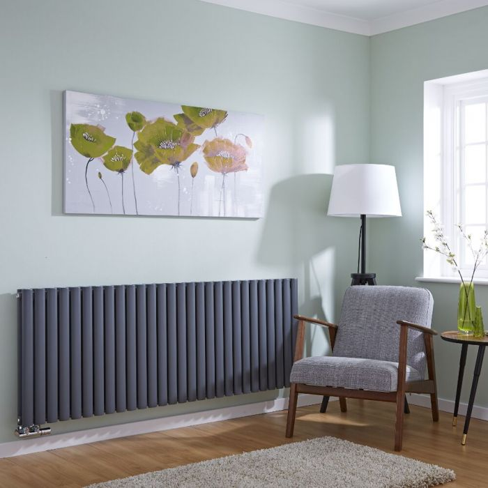 Milano Aruba Flow - Anthracite Horizontal Middle Connection Designer Radiator - 635mm x 1647mm (Double Panel)
