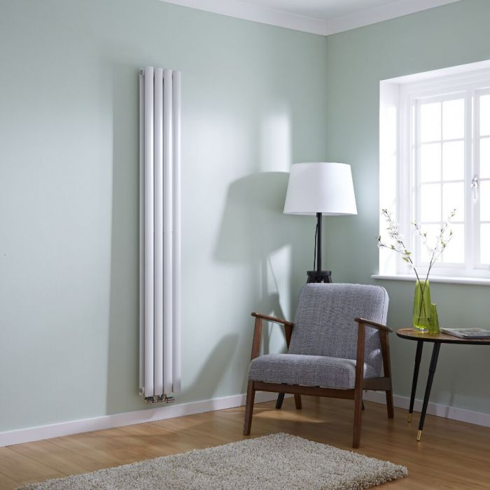 Milano Aruba Flow - White Vertical Double Panel Middle Connection Designer Radiator 1780x236mm