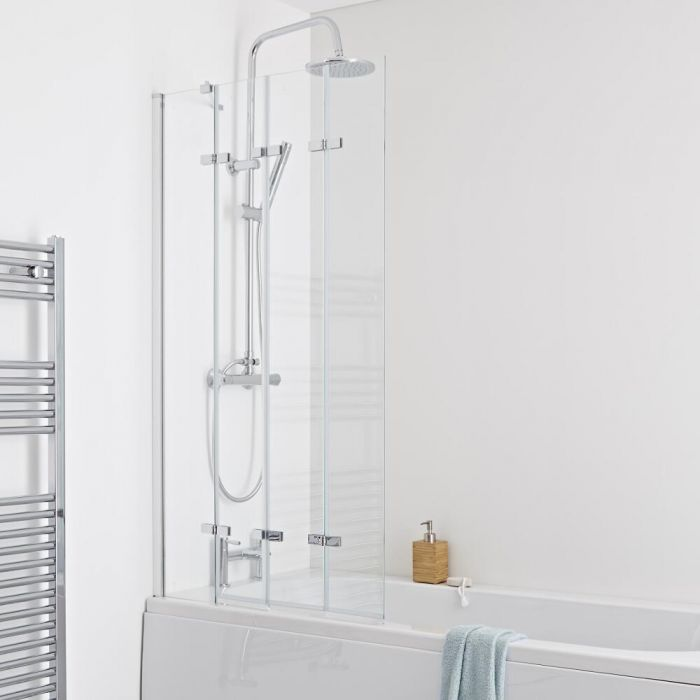 Milano Portland - Folding Shower Bath Screen - Easy Clean Glass