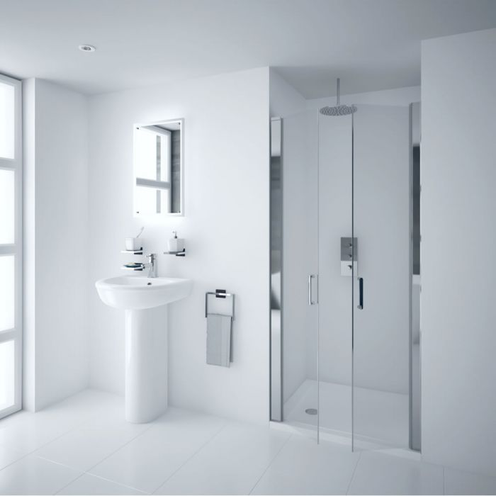 Milano Portland - 1000mm Double Hinged Shower Door - 6mm Easy-Clean Glass