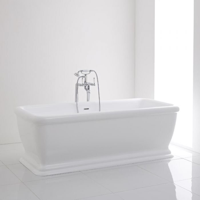 Milano Ashford Square Double Ended Freestanding Bath with Waste 1740 ...