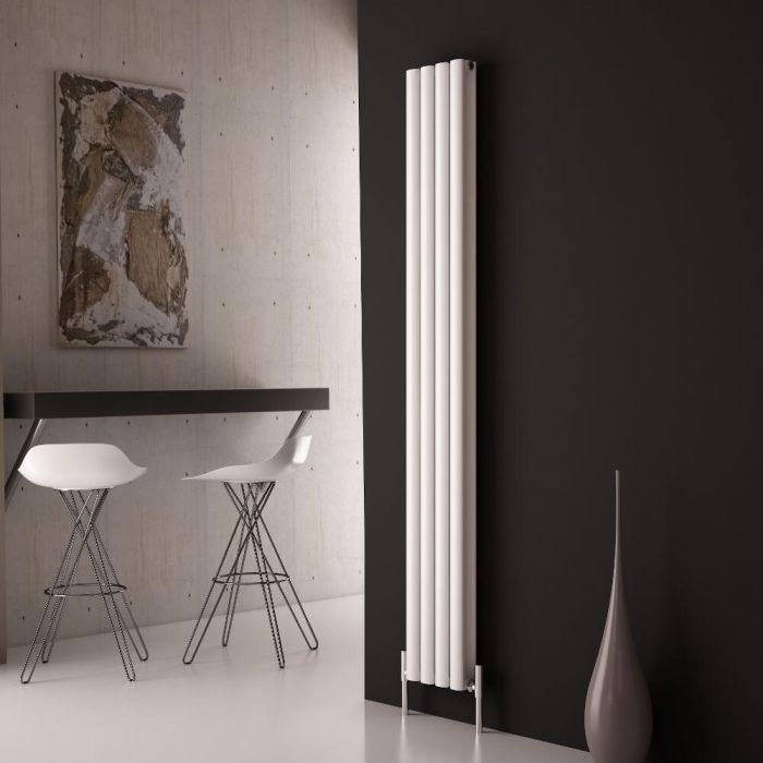 Milano Aruba Ayre - Aluminium White Vertical Designer Radiator - 1800mm x 230mm (Double Panel)