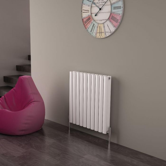 Milano Aruba Ayre - Aluminium White Horizontal Designer Radiator - 600 x 590mm (Double Panel)