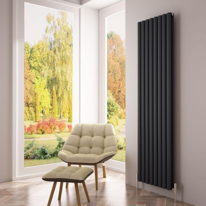 Milano Aruba Ayre - Aluminium Anthracite Vertical Designer Radiator - 1800 x 470mm (Double Panel)