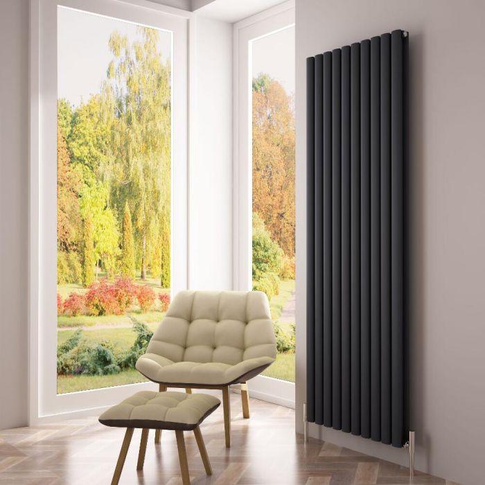 Milano Aruba Ayre - Aluminium Anthracite Vertical Designer Radiator - 1800mm x 590mm (Double Panel)
