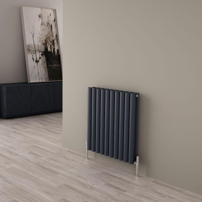 Milano Aruba Ayre - Aluminium Anthracite Horizontal Designer Radiator - 600mm x 590mm (Double Panel)