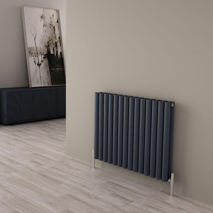 Milano Aruba Ayre - Aluminium Anthracite Horizontal Designer Radiator - 600mm x 830mm (Double Panel)