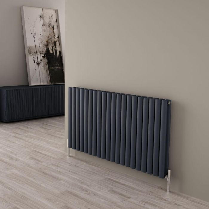 Milano Aruba Ayre - Aluminium Anthracite Horizontal Double Panel Designer Radiator 600 x 1190