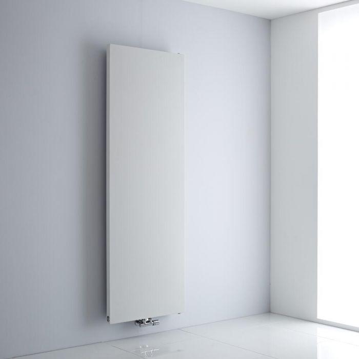 Milano Riso - White Flat Panel Central Inlet Vertical Designer Radiator 1800mm x 600mm
