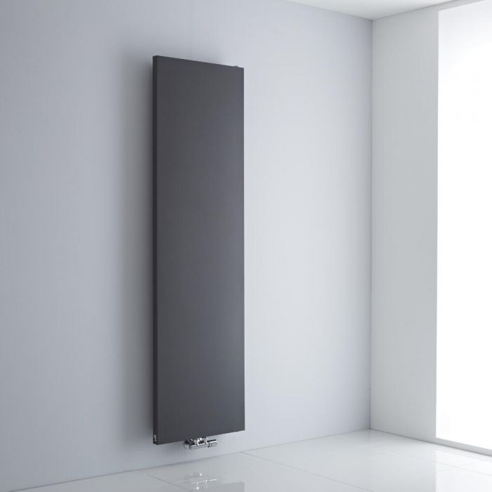 Milano Riso - Anthracite Flat Panel Central Inlet Vertical Designer Radiator 1800mm x 500mm