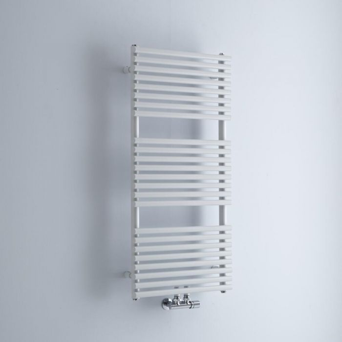 Milano Via - White Central Connection Bar on Bar Heated Towel Rail - 1065mm x 500mm
