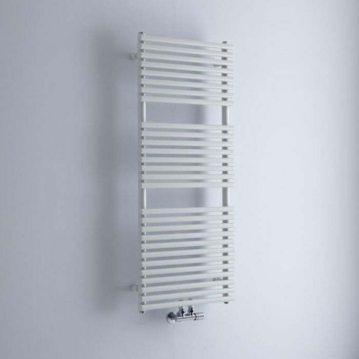 Milano Via - White Central Connection Bar on Bar Heated Towel Rail - 1215mm x 500mm