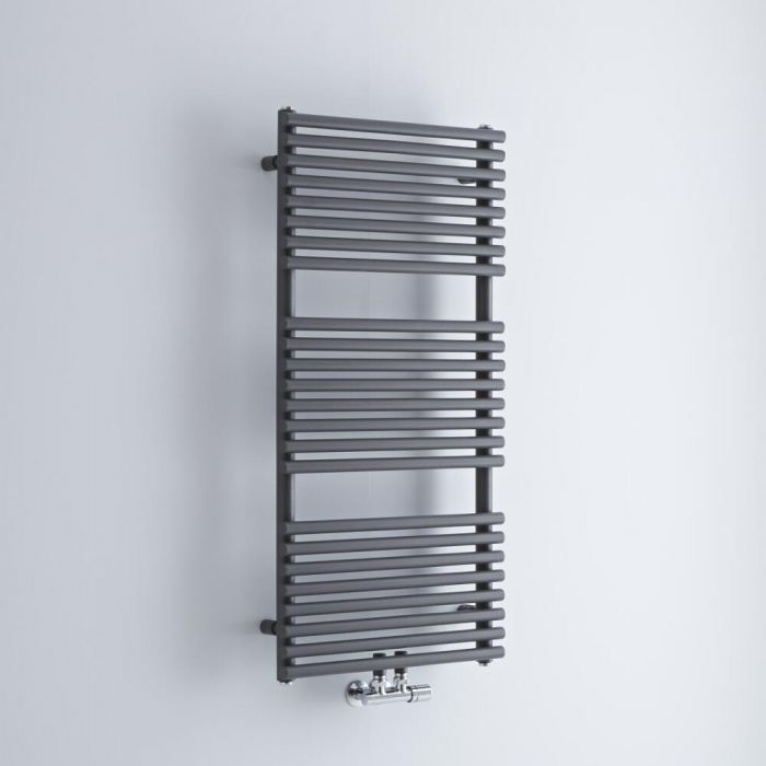Milano Via - Anthracite Central Connection Bar on Bar Heated Towel Rail - 1065mm x 500mm