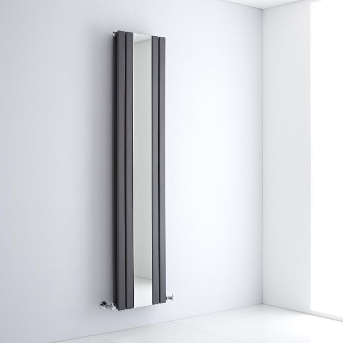 Milano Icon - Anthracite Vertical Mirrored Designer Radiator 1800mm x 385mm