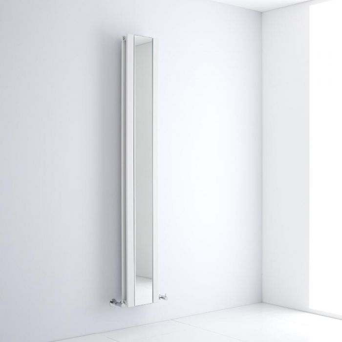 Milano Icon - White Vertical Designer Radiator With Mirror - 1800mm x 265mm