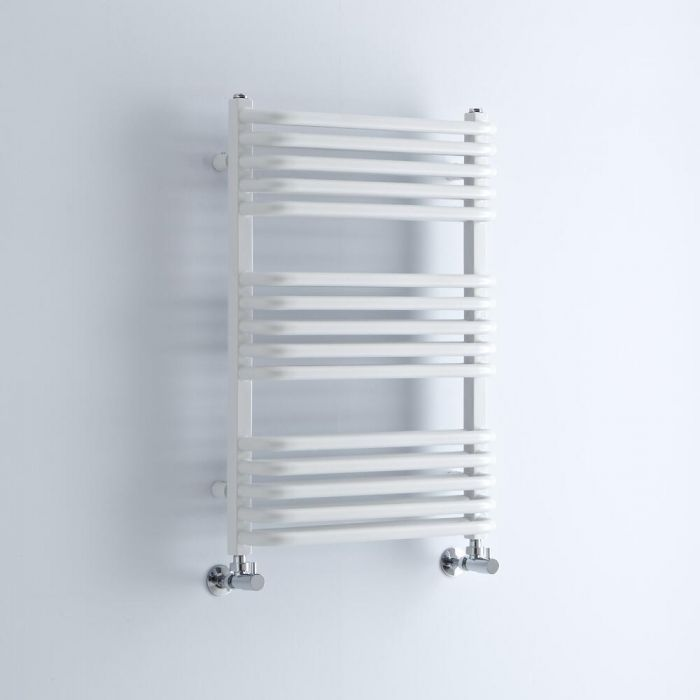 Milano Bow - White D Bar Heated Towel Rail 736mm x 500mm