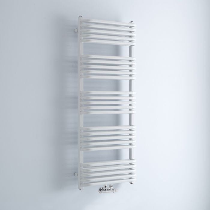 Milano Bow - White D-Bar Heated Towel Rail - 1269mm x 500mm