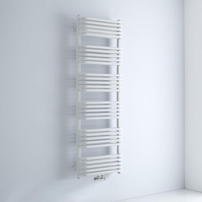 Milano Bow - White D Bar Heated Towel Rail 1533mm x 500mm