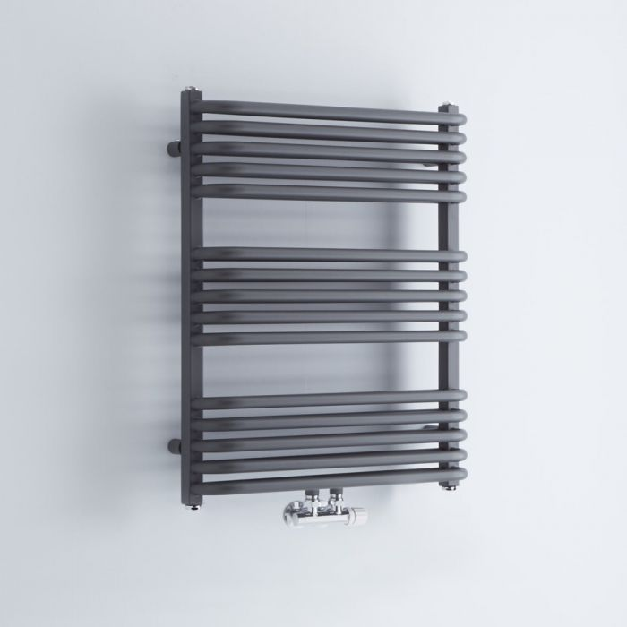 Milano Bow - Anthracite D Bar Heated Towel Rail 736mm x 600mm